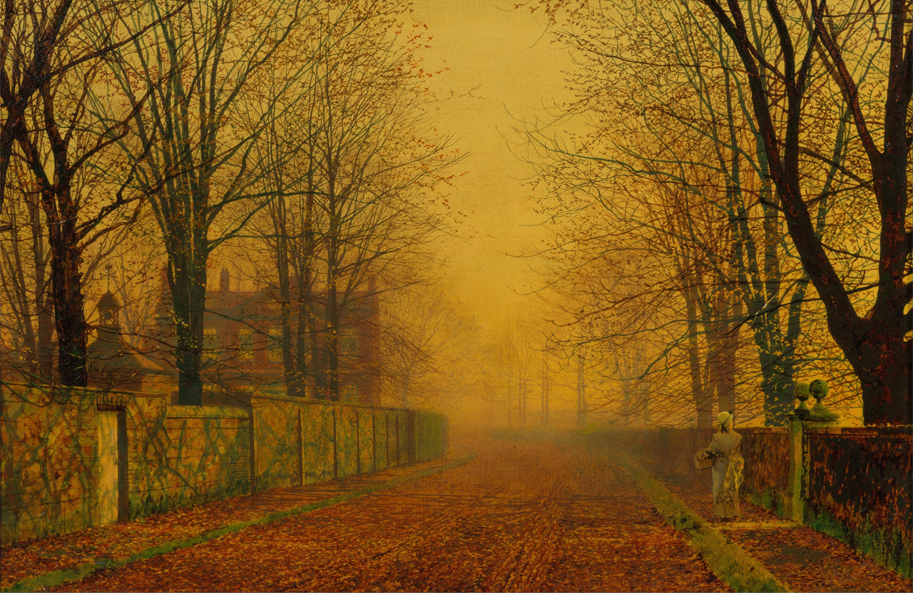 John Atkinson Grimshaw, Evening Glow, 1884, Oil on canvas, 286 mm (11.26 in). Width: 432 mm (17.01 in)